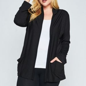 LONG SLEEVE OPEN FRONT POCKET CARDIGAN (PLUS)